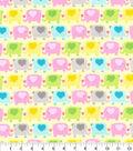 Nursery Cotton Fabric 44\u0022-Pink Elephant In Line