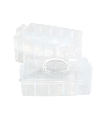 Plastic Storage Craft Beads Business Card Boxes Small Lidded x10