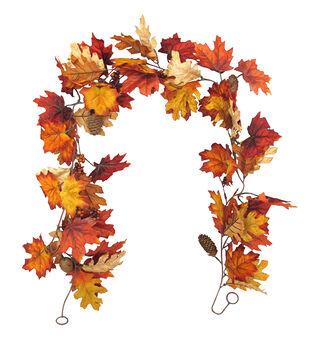 Blooming Autumn 66'' Velvet Maple Leaf & Berry Garland-Rust