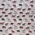 Novelty Cotton Fabric-Lodge Animals on Gray Wood