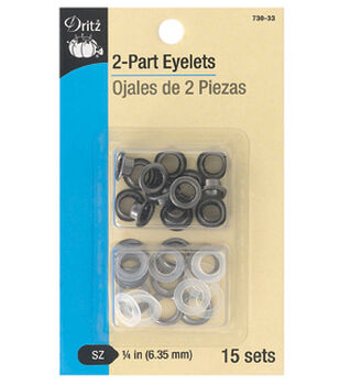 "Dritz 1/4"" 2-Part Eyelets-Gunmetal"
