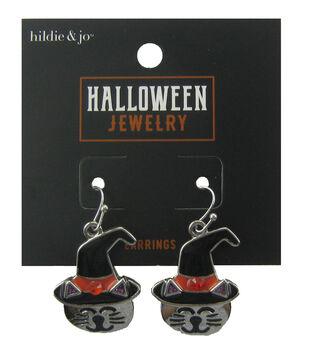 hildie & jo Halloween Earrings-Cat Silver