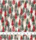 Christmas Snuggle Flannel Fabric-Red & Green Trees