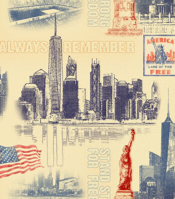 Patriotic Cotton Fabric 43''-Freedom Tower