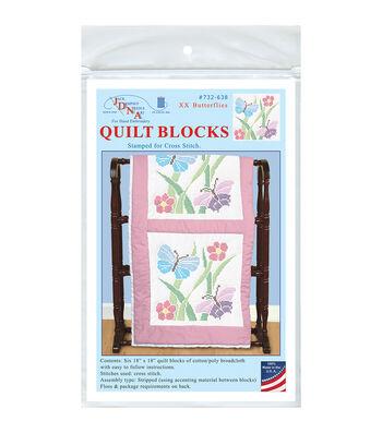 Jack Dempsey 6ct 18''x18'' Stamped White Quilt Blocks-XX Butterflies