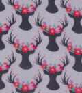Anti-Pill Fleece Fabric 59\u0022-Floral Crown Stag