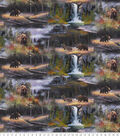 Novelty Cotton Fabric -Grizzlies At The Waterfall