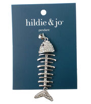 hildie & jo Fish Bones Pendant-Silver, , hi-res