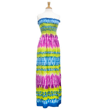 Style In An Instant  Shirred Dress Tie Dye Stripe Green