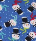 Christmas Blizzard Fleece Fabric-Snowman Faces on Blue