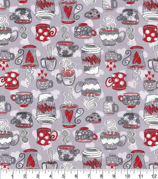 Novelty Cotton Fabric-Gray & Red Cafe