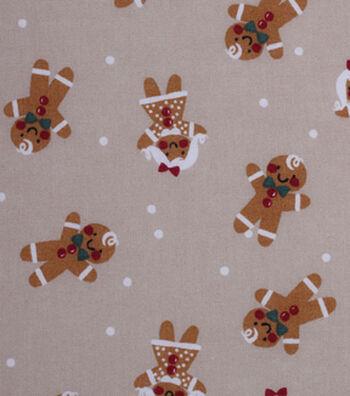 Christmas Cotton Fabric 43''-Gingerbread on Gray