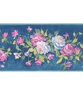 Rosa Blue Floral Bouquet Wallpaper Border