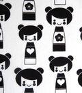 Snuggle Flannel Fabric 42\u0022-Black & White Dolls