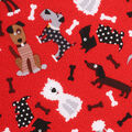 Novelty Cotton Fabric -Tossed Dogs On Red