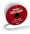 Maker\u0027s Holiday Arctic Frost Cord Ribbon 1/16\u0027\u0027x54\u0027-Blue, Silver & White
