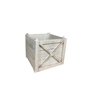 Blooming Holiday Farm Small White Washed Crate