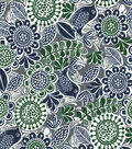 Quilter\u0027s Showcase Cotton Fabric 44\u0022-Green Navy Floral Birds