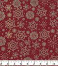 Christmas Cotton Fabric-Snowflakes on Red