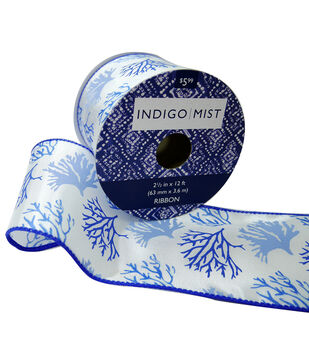 Indigo Mist Ribbon 2.5''x12'-Coral on White