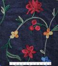 Denim Embroidered Cotton Fabric-Blue Multi Floral