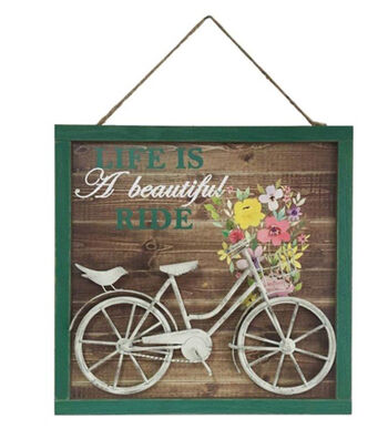 Hello Spring 3D Wall Decor-Life is a Beautiful Ride & Bicycle