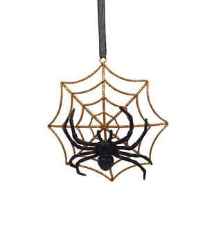 Maker's Halloween Spooky Spider with Orange Web Ornament
