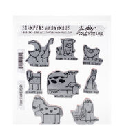 Tim Holtz Cling Stamps 7''X8.5''-Funny Farm, , hi-res