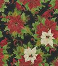 Maker\u0027s Holiday Cotton Fabric 44\u0022-Cardinals and Poinsettias