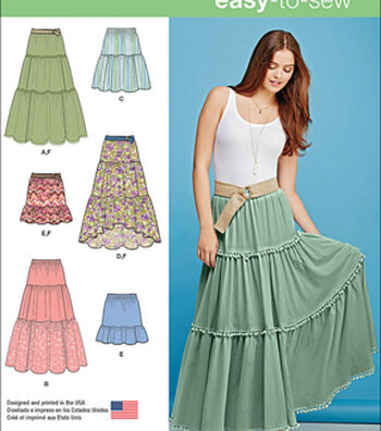 Simplicity Patterns Us1110A-Simplicity Misses' Tiered Skirt With Length Variations-Xxs-Xs-S-M-L-Xl-Xxl