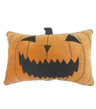 Maker's Halloween 20''x3.5'' Lumbar Pillow with Stem-Jack-o'-lantern