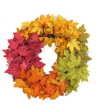 Blooming Autumn 22'' Maple Leaf Wreath-Color Blocked