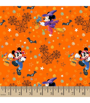 Disney Mickey & Minnie Cotton Fabric-Halloween Fun