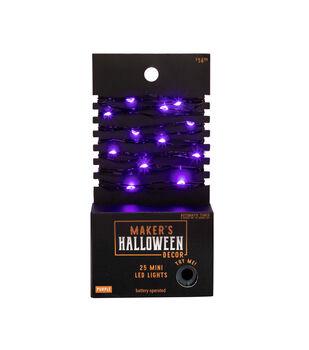 Maker's Halloween Decor 25 ct Purple Mini LED Lights on Black Wire