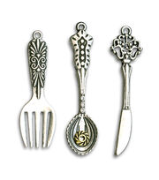 hildie & jo 3 pk Utensil Oxidized Silver Charms, , hi-res