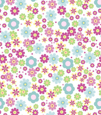 Nursery Flannel Fabric-Deer Bright Floral