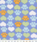 Blizzard Fleece Fabric-Blue and Gold Hearts and Paws