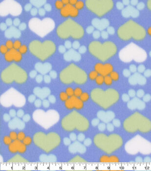 Valentine's Day Blizzard Fleece Fabric-Hearts & Paws on Blue