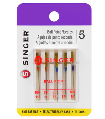 Singer Ball Point Machine Needles 5/Pk-Sizes 11/75,14/90,16/100