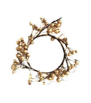 Handmade Holiday Christmas Mini Berry Wreath-Gold