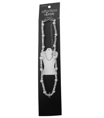 hildie & jo 30'' Ivory Necklace-Stones & Silver Spacer Beads