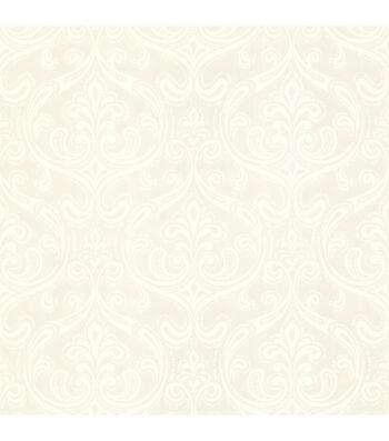 Anastaise White Ogee Damask Wallpaper