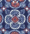 Anti-Pill Fleece Fabric 59\u0022-Blue & Coral Medallions