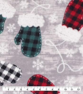Anti-Pill Plush Fleece Fabric-Buffalo Check Mittens