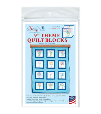 Jack Dempsey Antique Jars Themed Stamped White Quilt Blocks