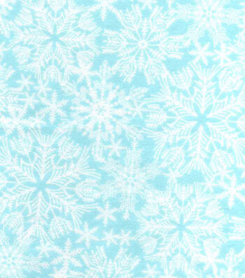 "Snuggle Flannel Fabric 42""-Snowflakes On Ice Blue"