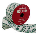Maker\u0027s Holiday Christmas Ribbon 2.5\u0027\u0027x25\u0027-Green Ferns on White