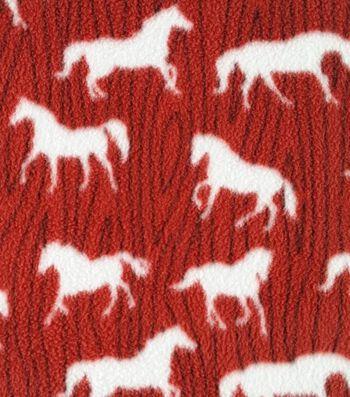 Western Fabric- Horses On Grain Red Fleece