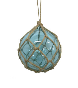 Handmade Holiday Christmas Frosty Seas Glass Ornament with Jute-Blue