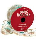 Maker\u0027s Holiday Christmas Ribbon 2.5\u0027\u0027x25\u0027-Blue Glitter Snowflakes